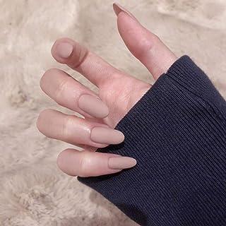 24Pcs Matte Medium Long Round Shape Pure Colour Wear False Nails Press On Full Coverage Acrylic Fake Nails Tips (Grey Pink)
