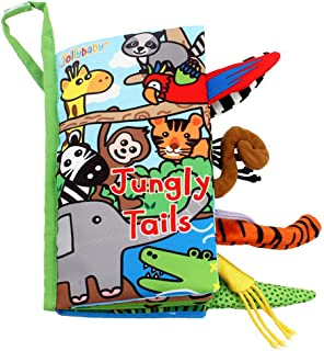 Zocita My First Animals Tails Soft Cloth Book, Baby Crinkle Activity Fabric Books for Toddlers and Kids(Jungly)