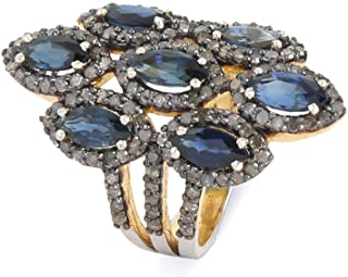 Certified 925 Sterling Silver Flower Ring With Blue Fire Sapphire And 1.7 Carat Brown Natural Diamond (I2-I3 Clarity ) For...