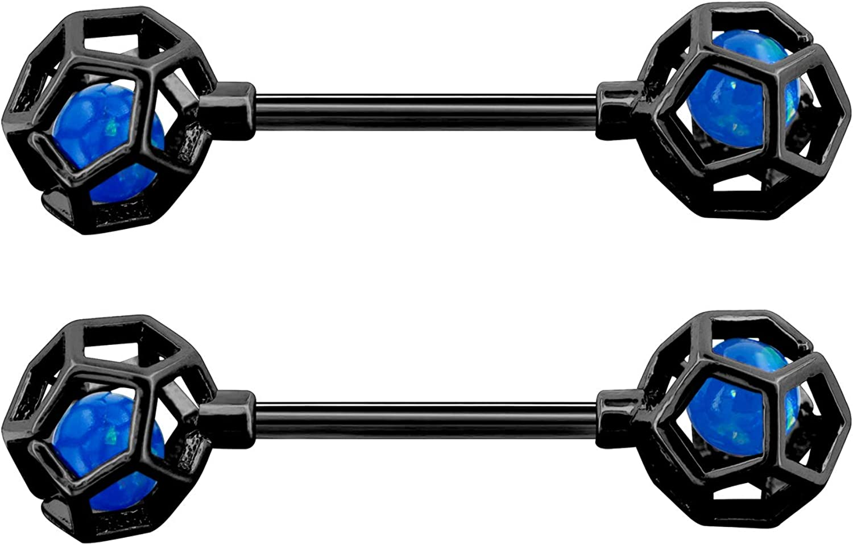 OUFER 2 PCS 14G Stainless Steel Nipple Rings Barbell Gunmetal Faux Opal Nipple Rings Piercing Jewelry