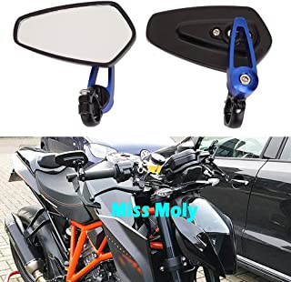 Motorrad Lenkerende Seitenspiegel 7/8'22mm Aluminiumlegierung Lenker Rückspiegel für Scooter Cruiser Sport Bike(Blau)