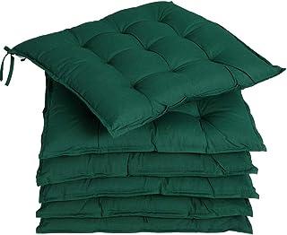 Deuba 6X cojínes Cozy Verde para sillas almohadones Interior y Exterior Acolchado con Cintas de sujetación 45x45cm