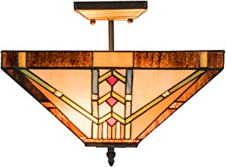 Tangkula Tiffany Ceiling Lamp, Stained Glass Lamp Shade Light with Iron, Antique Style Tiffany Hanging Light, 2 Light Bulbs Pendent Ceiling Fixture, Perfect for Home Décor (Golden, 14 inches)