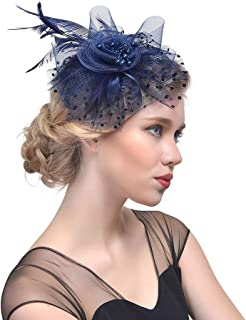 YiyiLai Beaded Feather Net Flower Bridal Derby Hat Fascinator with Clip Hairband