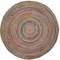 Kave Home - Alfombra Saht Redonda Ø 150 cm de Yute Natural y Trenzado de algodón Multicolor