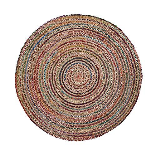 Kave Home - Alfombra Saht Redonda Ø 100 cm de Yute Natural y Trenzado de algodón Multicolor