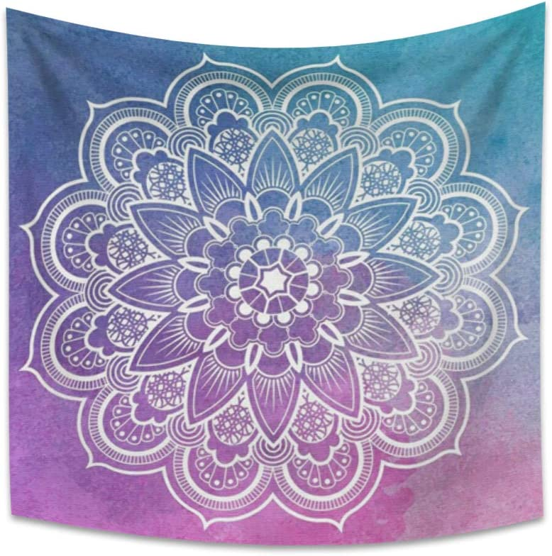 Haoyiyi 59.1x59.1 Inches Mandala Tapestry Wall Hanging Blue and Purple Lotus Symmetrical Beauty Tapestry Psychedelic Bohemian Abstract Indian Medallion Tapestry for Bedroom Decor Table Cloth