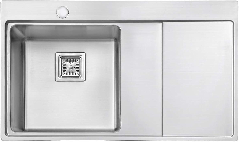 JASS Ferry Premium 1,2mm Strke Edelstahl Küche Spüle Single One 1.0Schüssel viereckig Abtropfschale rechts 860x 520mm 10Jahre Garantie