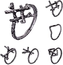 QIANJI Viking Futhark Rune Initial Ring Courage and Bravery Tiwaz Rune Gothic Branch Rings Antique 6PCS/Set