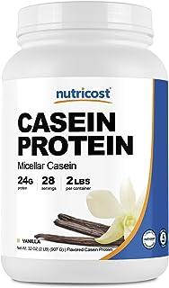 Nutricost Casein Protein Powder 2lb Vanilla - Micellar Casein, Gluten Free, Non-GMO