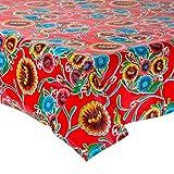 FANMEX - Fantastik - Mantel de Hule para Mesa (120 cm Ancho - Largo por Medio Metros) Modelo Dulce Flor Rojo
