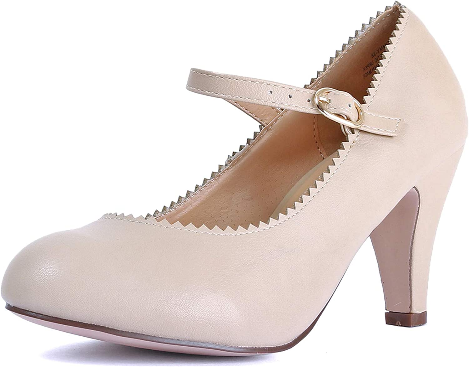 Guilty shoes Womens Classic Mary Jane Low Mid Kitten Heel Round Toe Pumps
