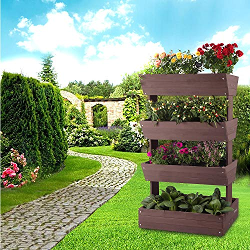 Aivituvin Vertical Raised Garden Bed With 4 Containers