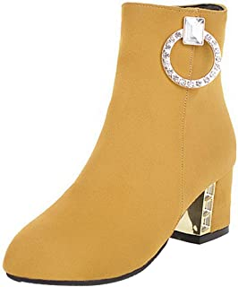 4f4aec848aedc0 Kittcatt Bottes Femme Bottine Doux a Talon Bloc Ankle Boots Strass Bout  Pointu Chunky Heels Hiver