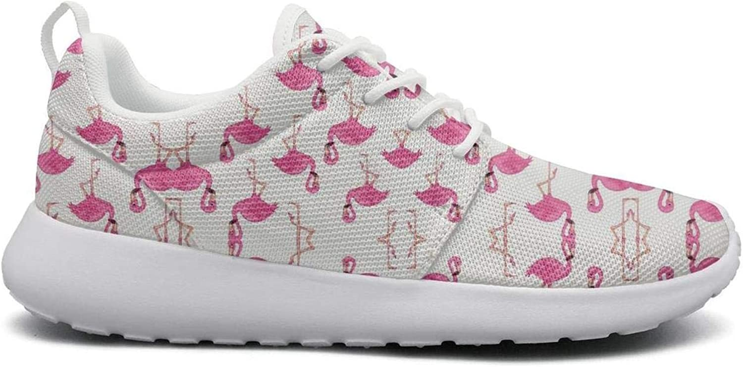 FEWW11 Women Funny Lightweight shoes Sneakers Group of Pink Flamingos Pictures Breathable Running Lace-Up