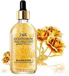 24k Pure Gold Foil Essence Serum, Makeup Primer, Moisturizing Anti-Aging Anti-Redness Acne Treament Essencial Cream, Face Skin Whitening Essence Serum Nicotinamide(30ml/1 ounce)