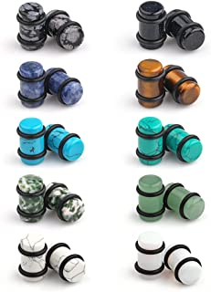 10 Pairs Set Natural Mixed Stone Saddle Ear Plugs Stretcher Expander Tunnels Gauges Piercing Jewelry O-Rings 2g-12mm