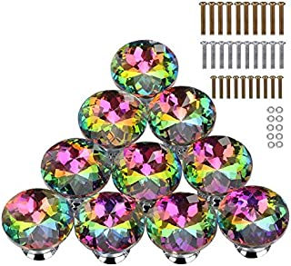 HOMEIDEAS 10PCS 30MM Colorful Crystal Knobs Glass Cabinet Knobs Drawer Pulls Handle for Home, Cabinet, Drawer and Dresser, 3 Size Screws