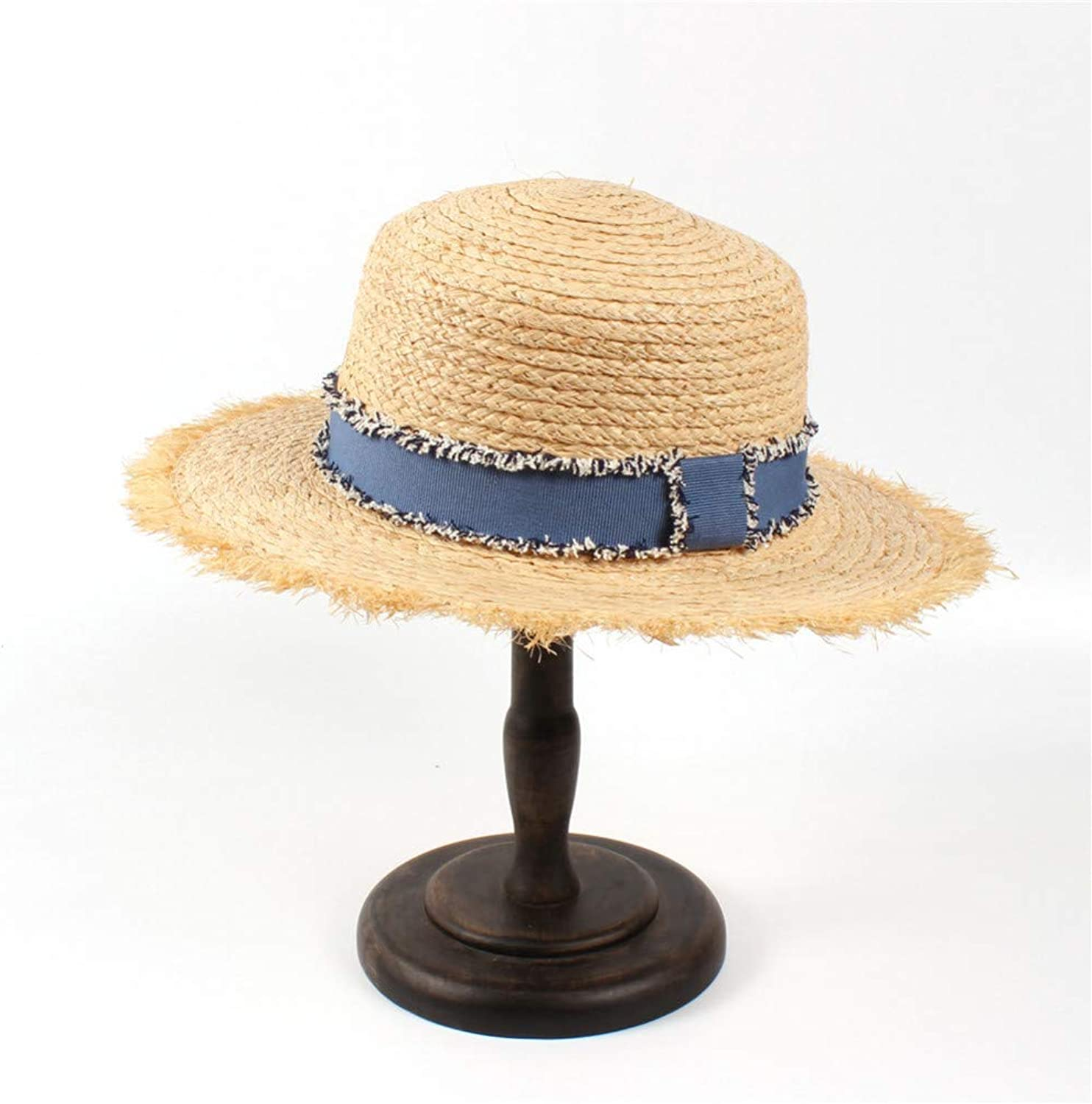 JINRMP Women Beach Sun Hat for Elegant Lady Tassel Flat Pork Pie Bucket Sun Hatgarland Sunbonnet with Denim Ribbon