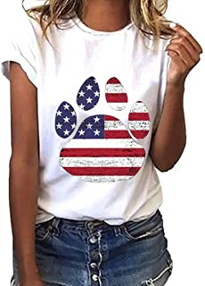 Simayixx Women Dog Claw Print Tee Shirts Ladies Girls USA Independence Day Summer Tops Fourth of July Blouses Plus Size