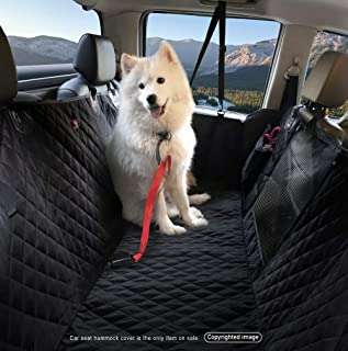 LEVSHA Waterproof Dog Pet Split Hammock with Mesh Window, Car Rear Seat Cover - Non-Skid, No Chemical Odor, Sturdy Construction - Black for Cars & Compact SUVs