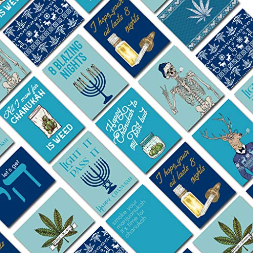 Cannabis Chanukah Cards Boxed Set - 12 Blank Holiday Greeting Cards w/Envelopes - Funny Assorted Stoner Weed Designs on High-Quality Card Stock - Funny Hanukkah Stationery by RitzyRose