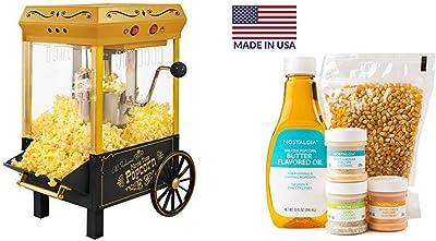 Nostalgia KPM528 Vintage 2.5-Ounce Tabletop Kettle Popcorn Maker with Seasoning, Oil, and Popcorn Kit