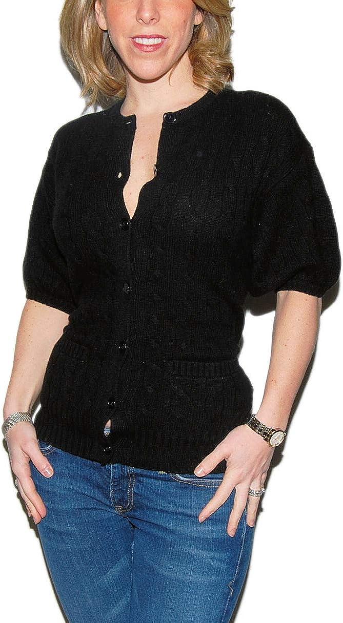Ralph Lauren Polo Womens Cable Cashmere Cardigan Henley Sweater Black Medium