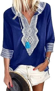 Womens Classic 3/4 Sleeve Ethnic Print V Neck Blouse Shirt Tops Black Large