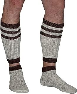 2 Piece Long Embroidered German Lederhosen Cotton Socks Cream/Brown