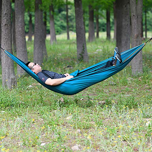 D&LE Camping Hammock,Lightweight Polyester Hammocks For Travel Beach Patio Hiking,Portable Single Hammocks With Carrying Bag Blue 250x150cm(98.4x59.1inch)