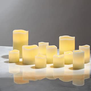 Flameless Pillar and Votive Candle Set - Real Wax, Flickering LED Candles, Assorted Sizes, Batteries Included, Pack of 11