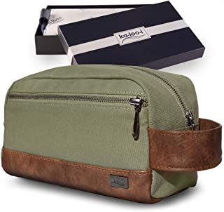 """Toiletry Bag for Men - Canvas Dopp Kit for Travel, Gym, Grooming & Shaving, Waterproof Lining, 10"""" x 4.5"""" x 5.5"""", Olive Green Color with Vegan Leather Trim, Comes in Gift Box by Kalooi"""