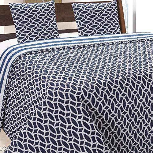 Euromat Tagesdecke + 2 Kissenbezüge (3 TLG Set) Steppdecke Bettüberwurf Tavira (Marineblau Weiß- Carlota, 220x240+2 * 40x40)