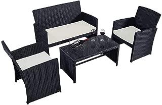 COSTWAY DR-49859-HW Outdoor COSTWA 4 PC Rattan Patio Furniture Set Garden Lawn Pool Backyard, Black