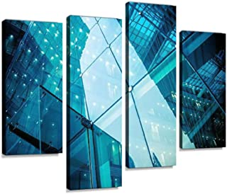 modern glass office architectur Canvas Print Artwork Wall Art Pictures Framed Digital Print Abstract Painting Room Home Of...
