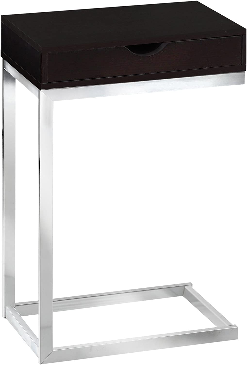 Monarch Specialties I 3031, Accent Table with a drawer , Chrome Metal, Cappuccino