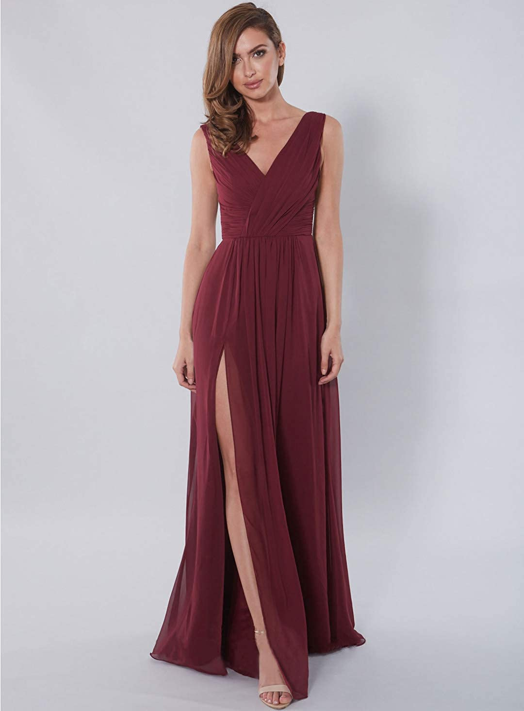 Nicefashion Women's V-Neck Chiffon Bridesmaid Dress Long A-Line Pleated Evening Gown with Slit