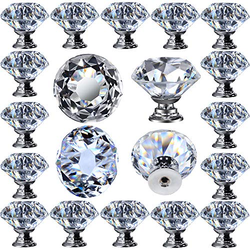 "DeElf 12 PCS Clear Crystal Glass Drawer Cabinet Pulls Knobs Diamond Shape for Kitchen, Dresser, 30mm (1-1/4""), Silver Color Base"