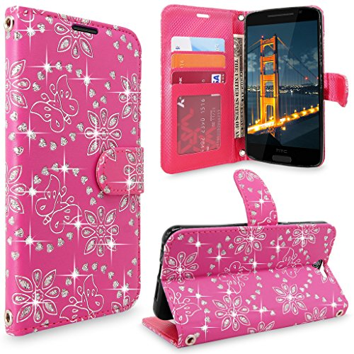 HTC One A9 Case, HTC Aero Case, Cellularvilla [Slim Fit] [Stand Feature] Premium Pu Leather Wallet Case [Card Slots] Book Style Protective Flip Cover For HTC One A9 / HTC Aero (Pink Glitter)