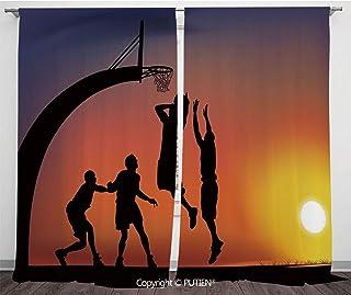 Satin Window Drapes Curtains [ Teen Room Decor,Boys Playing Basketball at Sunset Horizon Sky Dramatic Scene Decorative,Dark Coral Black Yellow ] Window Curtain Window Drapes for Living Room Bedroom Do