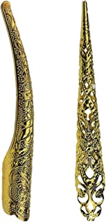 Prettyia 2Pcs Fancy Chinese Ancient Queen Fingernail Joint Armour Long Nail Ring Gold