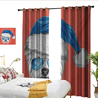 WinfreyDecor Yorkie Thermal Curtains Terrier with a Blue Santa Hat and Mirror Aviator Glasses Fun Hand Drawn Animal Noise Reducing W72 x L108