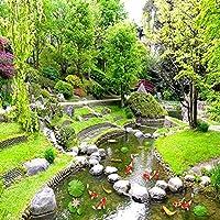N/K カスタム3D写真壁画壁紙緑の植物ツル風景小さな川公園リビングルーム寝室研究装飾背景壁-360X220CM