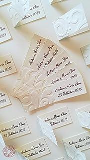 Fantacartando Kit 10 bigliettini bomboniere con decorazione in rilievo onde per nascita, Battesimo, Prima Comunione, Cresi...