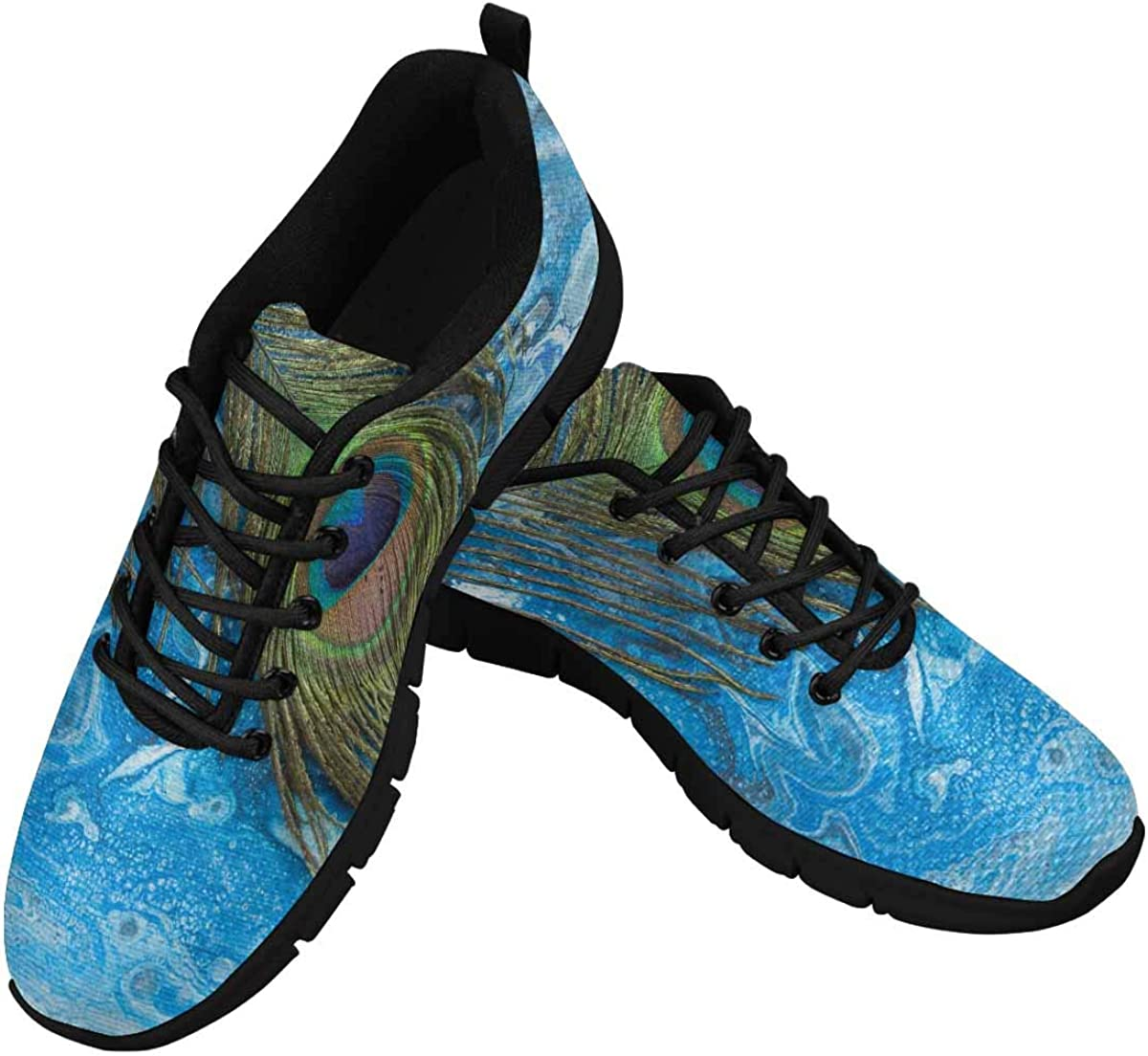 INTERESTPRINT Peacock Feather Blue Women's Breathable Non Slip Sneakers