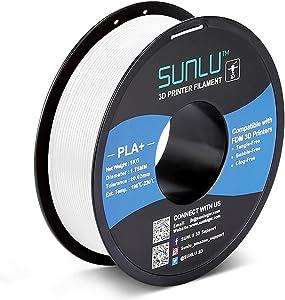 PLA+ 3D Printer Filament 1.75mm, SUNLU PLA Filament PRO, Dimensional Accuracy +/- 0.02 mm, 1 kg Spool, 1.75 PLA Plus, White