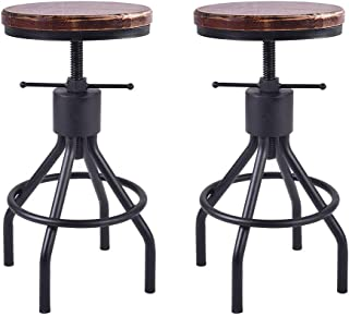 Lisuden Industrial Counter Height Adjustable Swivel Bar Stools 22-30 Inches Solid Wood Seat Extra Tall Coffee Kitchen Dining Chair Iron Black Frame Set of 2 Stools