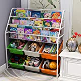 Simple Children's Bookshelf, Iron Childrens Toy Storage Rack (Color)