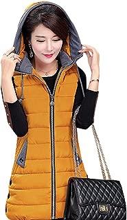 KINDOYO Womens Gilet - Zip Up Hoodie Padded Cotton Vest Gilet Sleeveless Jacket